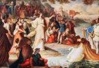 Ankunft Lohengrins (Sohn von Parzifal) mit dem weißen Schwan.